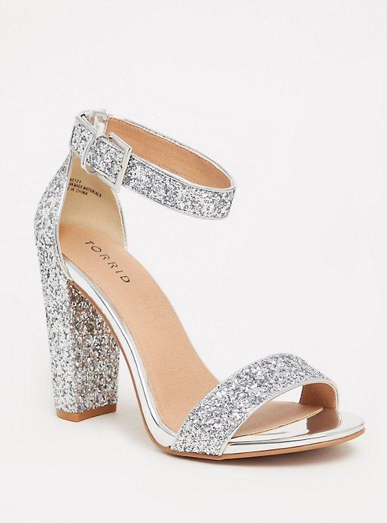 Silver Glitter Ankle Strap Sandal Ww In 2020 Ankle Strap Block