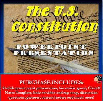 The Constitution Lecture and Review Game PowerPoint Lecture - history powerpoint template