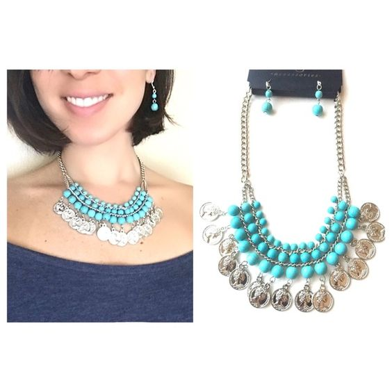 "Pearl & Coin Necklace Earring Set Silver Turquoise Pearl & Coins Statement Necklace & Earring Set. One size. Length is 16.5"" & with extender 20"" total. Dangle earrings are 1.5"". Gorgeous!! No Holds, No PayPal No Trades. ✅Bundle discounts!! ✅Offers Considered. Thank you for stopping by!❤️ Boutique Jewelry Necklaces"