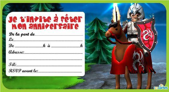 Invitation anniversaire Playmobil chevalier - 123 cartes