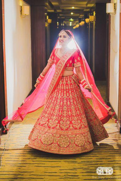 twirling bride, pink bridal lehenga, pink and gold lehenga, bright pink lehenga…: