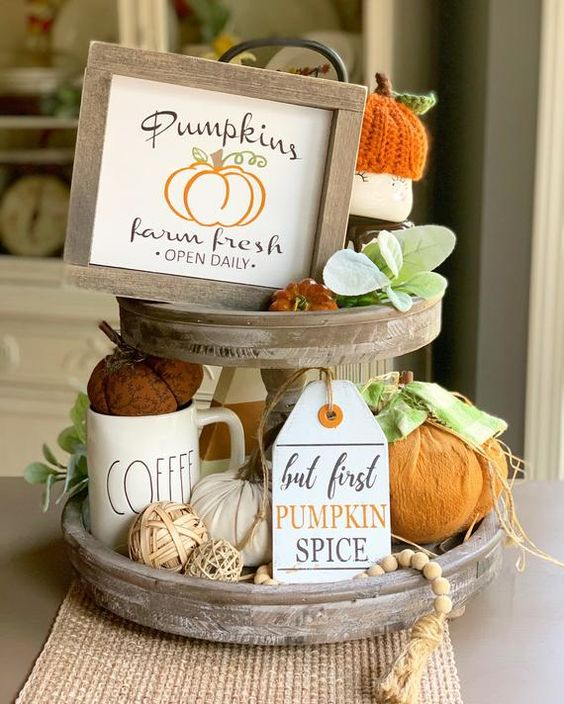 Pumpkin Signs / Tiered Tray Decor / Fall Signs / Pumpkins / Farm Fresh / Fall Decor / Wood Signs / F