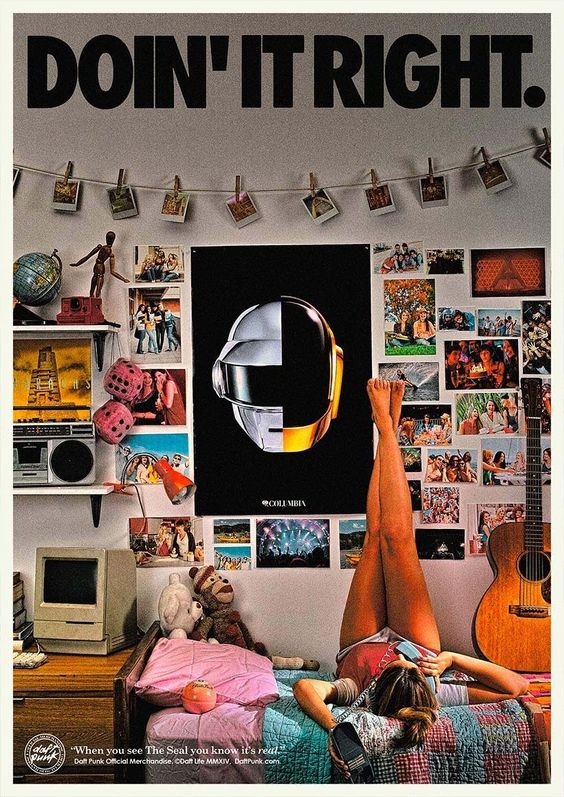 Split Helmet Poster - Doin' It Right | Daft Punk. Their new ads for Merchandise are the best!