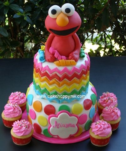"Elmo ""chevron/polka dot"" themed cake made for a special Gil's birthday!"