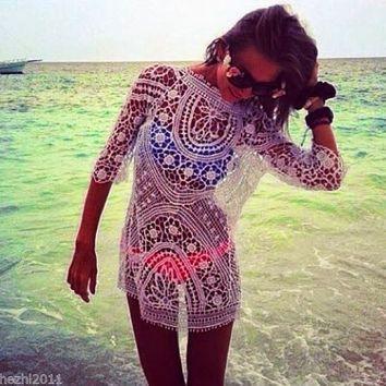New Women Bathing Suit Sexy Crochet Bikini Swimwear Cover Up Beach Dress = 1956891780