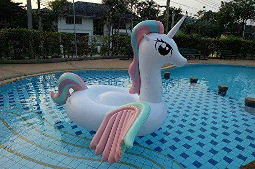 Aufblasbare Einhorn Luftmatratze Diese Riesige Badeinsel In Form Eines Einhorns Ist Ein Echter Blickfang Am Strand Oder Im Pool Aufblasbar Pool Pool Spielzeug