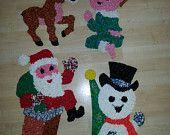Vintage retro melted plastic popcorn Christmas Decorations santa, snowman, boy, and donkey by RetrospectiveResale on Etsy, $25.00 USD