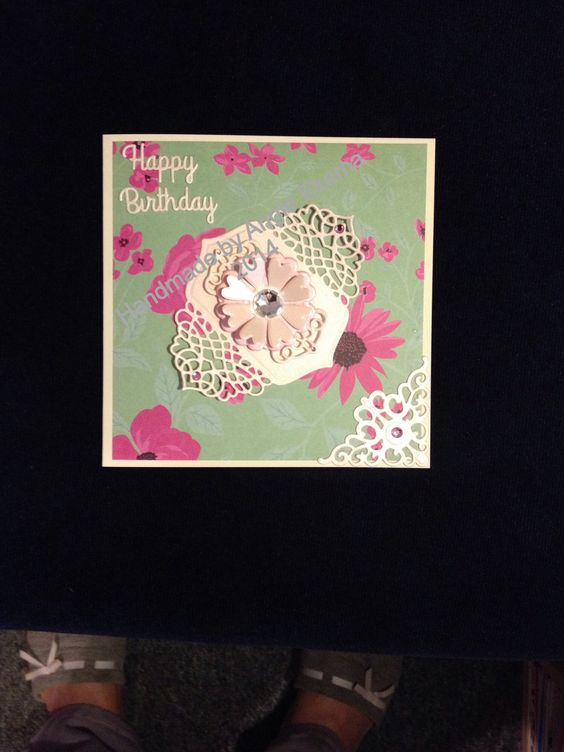 6x6 Card made using Kate Knight backing paper & Spellbinders & Sizzix dies