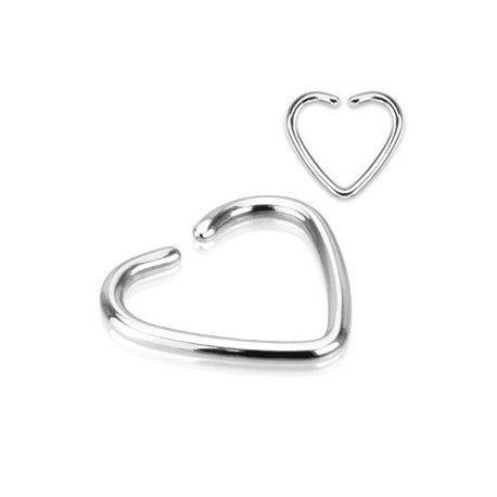 Piercing d'oreille en acier chirurgical titane motif coeur en 1.2mm adaptable au tragus, cartilage lobe d'oreille et faux piercing sur Piercing Tarawa