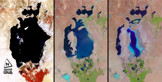 A Shrinking Sea  The Aral Sea in Central Asia began disappearing in the 1960s because of the diversion of its two feeder rivers for agriculture. From left to right, the images were produced in 1977, 1998 and 2010.