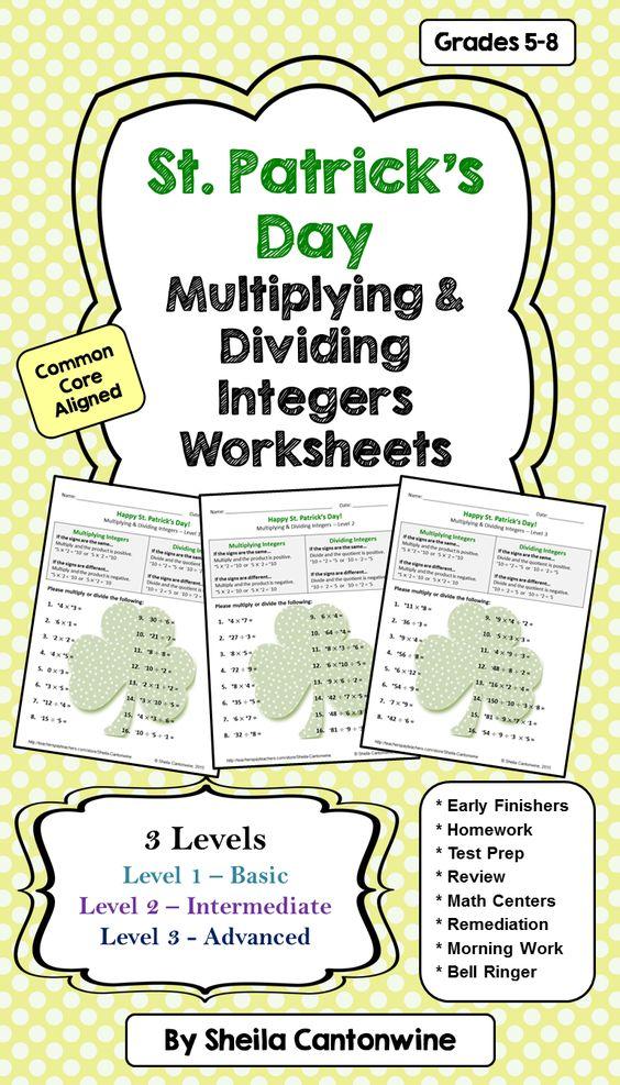 st patrick 39 s day math multiplying dividing integers worksheets 3 levels level 3 early. Black Bedroom Furniture Sets. Home Design Ideas