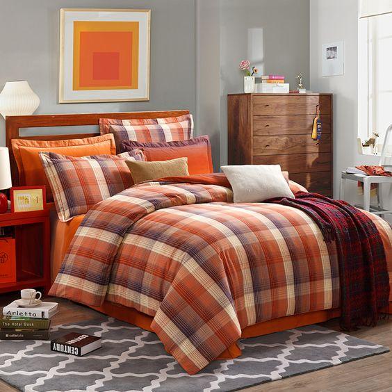 Mirada Orange Tartan Bedding Stripes And Plaids Bedding