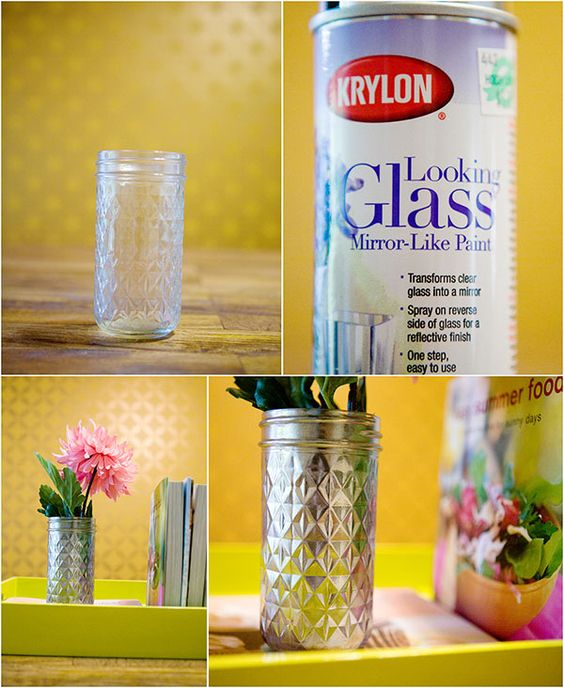 mercury glass diy using krylon looking glass spray paint full step. Black Bedroom Furniture Sets. Home Design Ideas