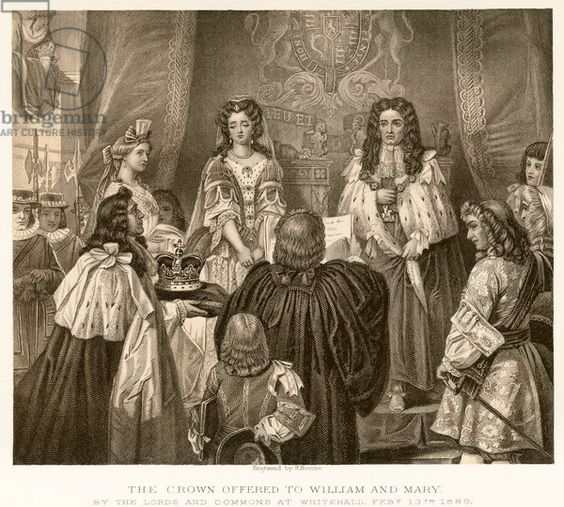 The crown offered to William and Mary (engraving), English School, (19th…
