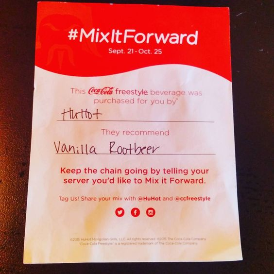 Join the chain! #mixitforward! ask your server for details! #eauclairehuhot  #huhot  #cokefreestyle  #coke  #soda