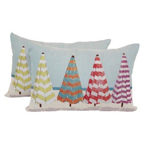 "2 Pack Coastal Umbrellas Toss Pillow 18""x12"" - Multi-Colored"