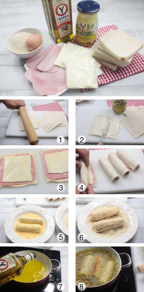 Flamenquín con mayonesa paso a paso (Jamón de York )