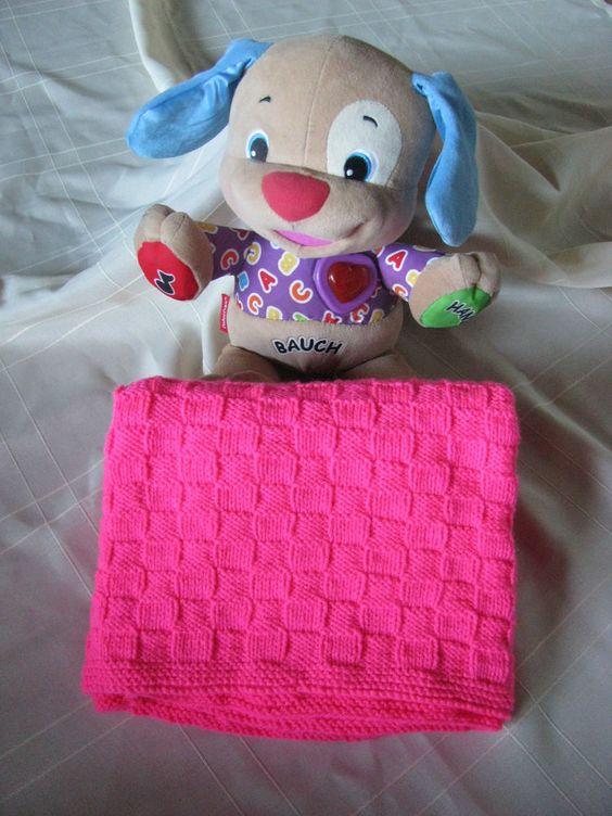 Babydecke, Kinderwagendecke, pink, ca. 75x77cm, gestrickt, Handarbeit, NEU