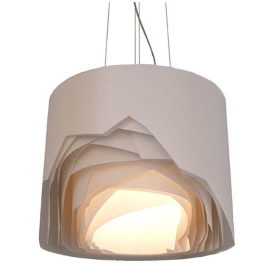 Diamond lamp 2010 - layers, reveal, tease, drum, cylinder, white