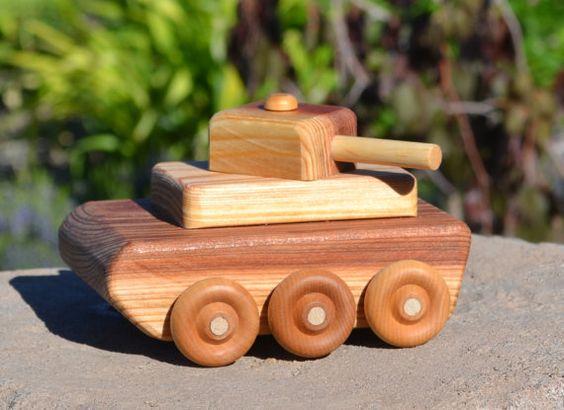Redwood Military Tank Heirloom Toy Handmade by WoodenGiraffeToys