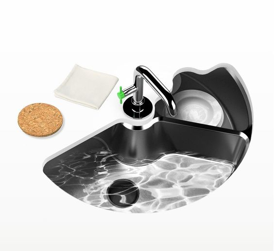 """Pretty sweet idea - this is the Eco Automatic Kitchen Sink designed by Ahhaproject. It is a sink and dishwasher in ONE! """"The Eco Automatic sink is donut shaped with one half exposed/open for loading, once full the sink then pivots underneath the enclosed section for cleaning and an open sink takes its place."""" There were to not only save time in washing the dishes but save space as well."""