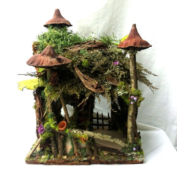 Forest Whimsy Fairy House With Little Garden Pots Waiting