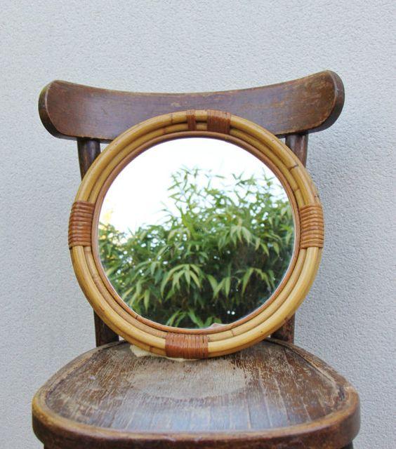 Miroir rotin osier rond vintage 38 cm / décoration 60s par Holy10