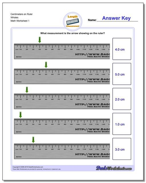 Https Www Dadsworksheets Com Centimeters On Ruler Wholes