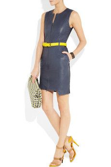 PREEN LINE  Fencing belted leather and stretch-crepe dress