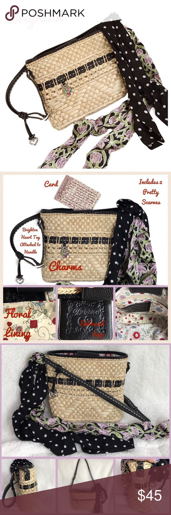 """Brighton Straw-Leather Cross Body-Handbag Great Gift 🎁 Brighton Weaved Straw Basket Cross Body  Shoulder Bag with Leather Trim and Charms- Fully Adjustable Strap-Pebbled Leather Magnetic Closure-INCLUDES 2 SCARVES  Bag Length-10.5"""" Bag Height-9.25""""  Depth-4.5"""" EUC- ❤️ This Brighton Bag has so many features- ❤️ Please see pics for more info   ☑️  You can make offers and bundle!!! ☑️  Have Fun Poshing...                                    Thank you-Deb👢        @bootz1342 Brighton Bags"""