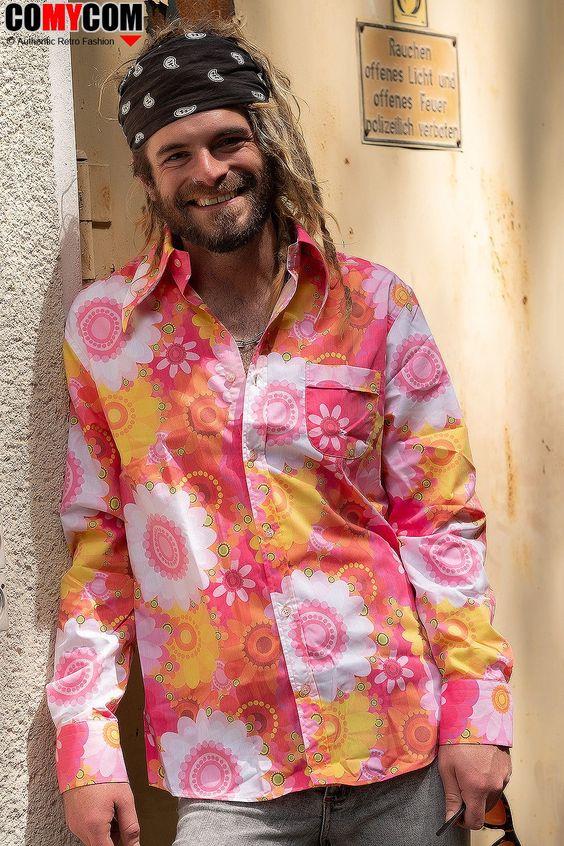 Buntes 70er Jahre Blumen Flower Power Hemd Pink Hippie Mode 70 Jahre Kleidung Retro Hemden