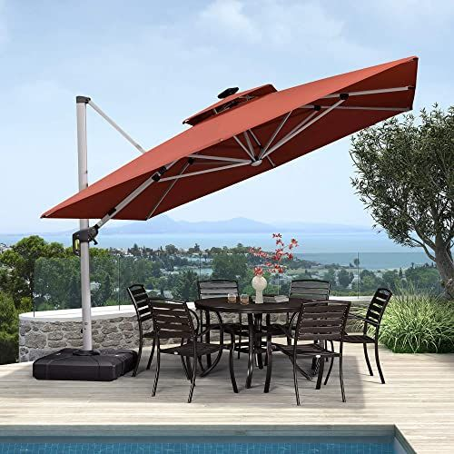 Enjoy Exclusive For Purple Leaf 11 Feet Double Top Deluxe Solar Powered Led Square Patio Umbrella Offset Hanging Umbrella Outdoor Market Umbrella Garden Umbrell In 2020 Patio Patio Umbrella Red Patio