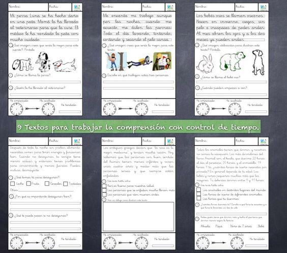 He creado una nueva serie de fichas para trabajar la comprensión lectora. En cada una de ellas he incluido dos relojes, uno para indicar el tiempo de inicio y otro para indicar el tiempo de finalización de la tarea. La idea con la que he creado estas fichas es hacer