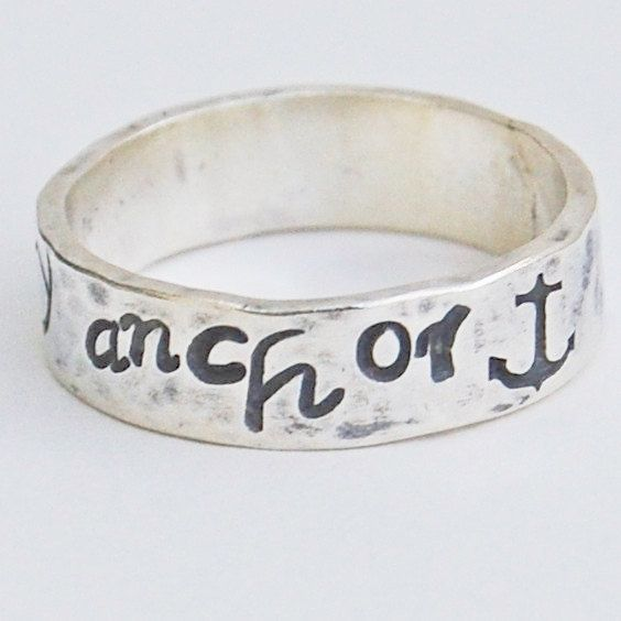 You Are My Anchor - Sterling Silver Ring Band  - Hand Forged and Hand Stamped - Your Size