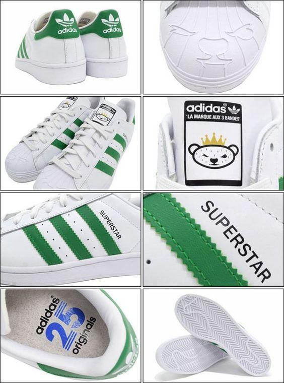 Adidas Superstar Bear Nigo Herren Individualität Sport Schuhe Weiß /Grün S83385