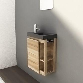 Lave-mains en fr�ne massif 1 porte + miroir Longueur 40cm FAIRWAY