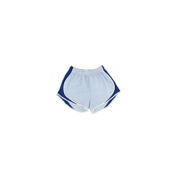 Shorties Shorts in Royal Blue Seersucker by Lauren James ❤ liked on Polyvore featuring shorts