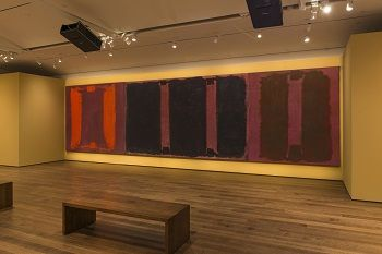 "Rothko's Panel One, Panel Two and Panel Three (a Harvard Mural Triptych). Their colors have been ""restored"" using light from digital projectors."