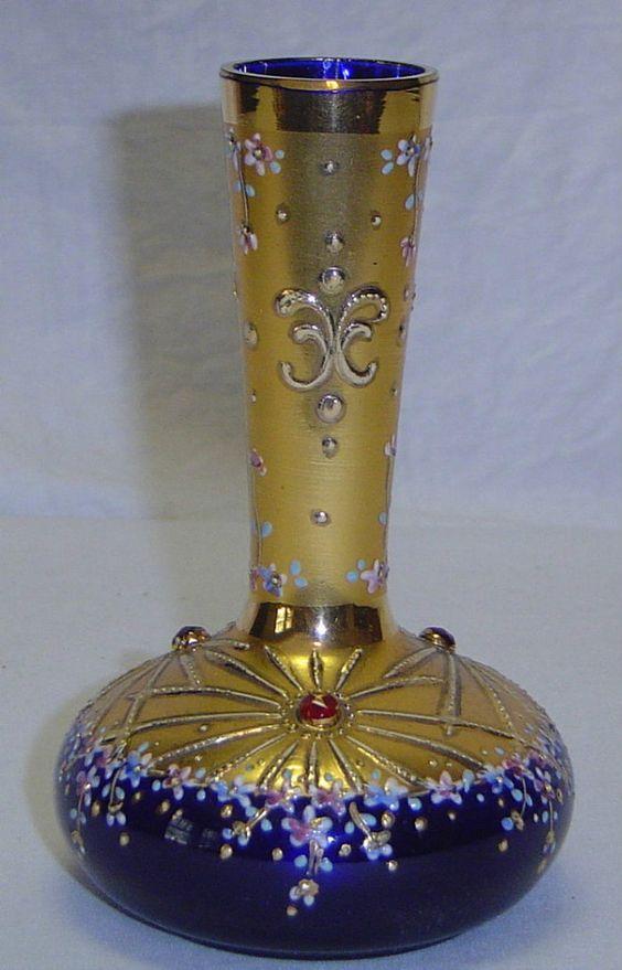 Cobalt Blue Gold Bohemian Glass Vase