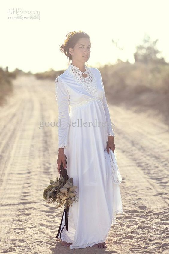 product modest boho long sleeves wedding dresses