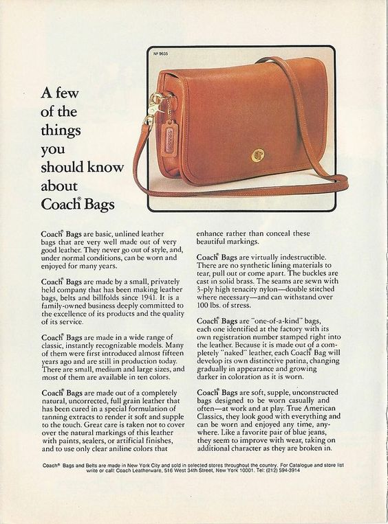 1982 COACH Bag Purse PHOTO Facts You Should Know #9635 Tan Tag Vintage PRINT Ad #CoachLeatherware -- ebay -- ChicTiques: