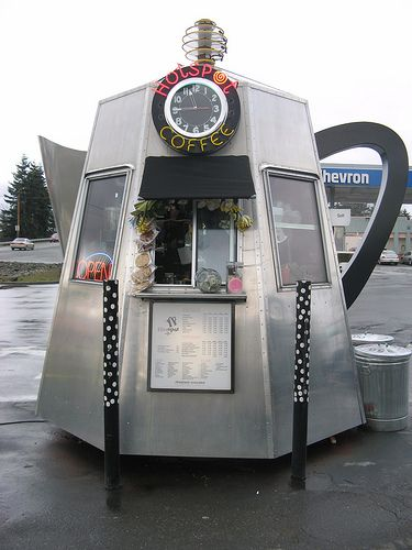 Hot Spot Coffee stand. Looks like a one-(wo)man brew in a one-(wo)man percolator!