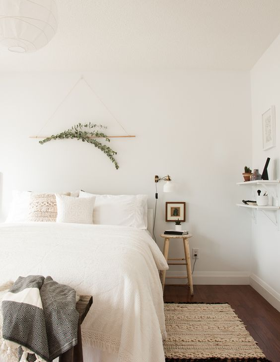 one-room-challenge-love-on-sunday, love the eucalyptus above the bed: