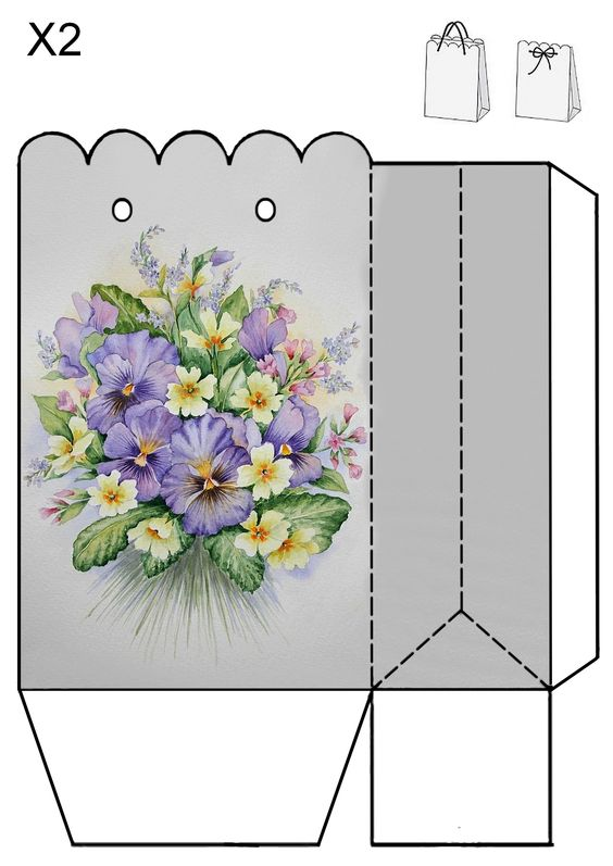 A pretty pansy gift bag to print.  No source, just a picture.