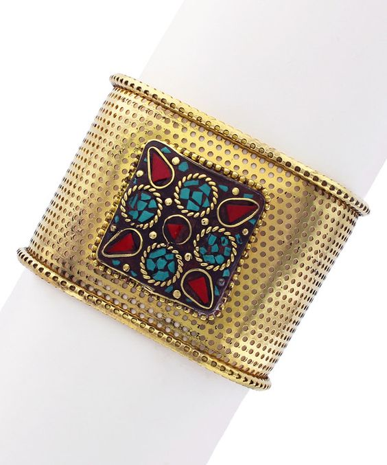 Look at this Gold Perforated Square Cuff on #zulily today!
