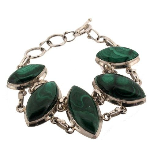 Malachite Sterling Silver .925 Bracelet Green Toggle Unique Beautiful Quality | eBay