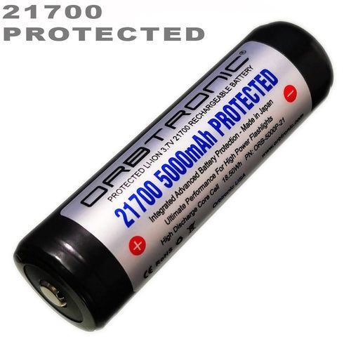 21700 Battery 5000mah Protected Button Top Li Ion Rechargeable 3 7v Orbtronic Best For High Performance 21700 Flashlights High Power Flashlights Flashlights Battery Safety