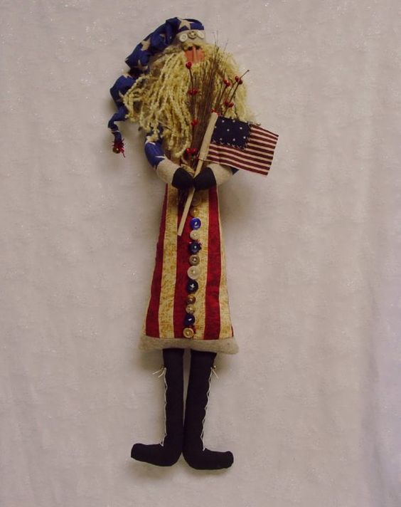 Primitive Americana Santa Claus Cupboard Doll Tall and Skinny. Primitive Americana Santa Claus Cupboard Doll Tall and Skinny