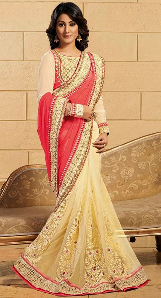 Scintillating Buttercream & Salmon Embroidered #Saree