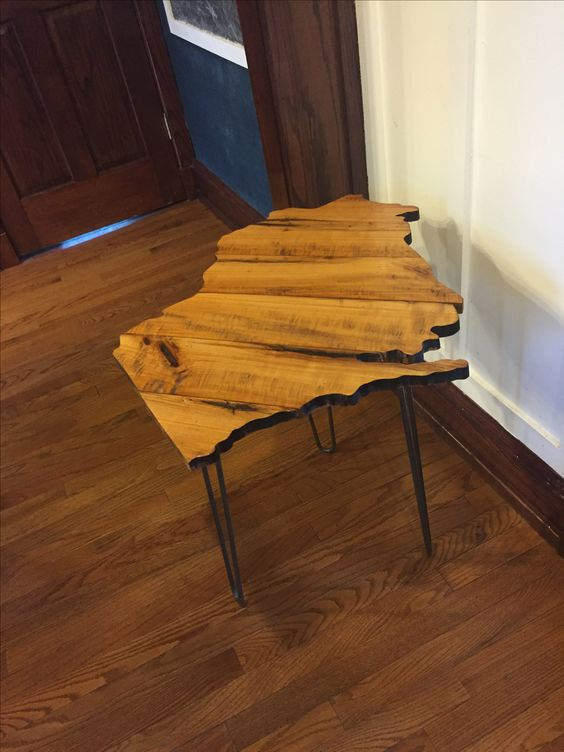 Reclaimed wood Wisconsin silhouette side table - Reclaimed Wood Wisconsin Silhouette Side Table Things I've Made